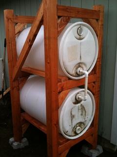 Finished rain barrel rack
