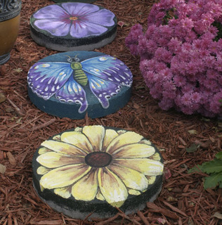 hand painted stepping stones